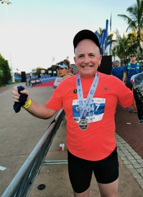 Rt.W.Br. Billy Rice celebrating his success in the Iron Man Competition, on the Natal Coast